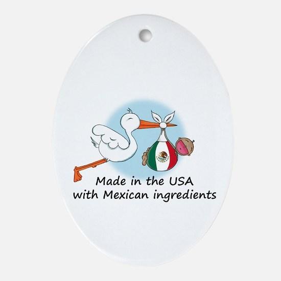 Stork Baby Mexico USA Oval Ornament