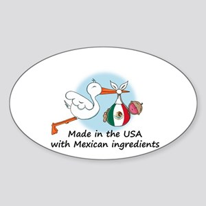 Stork Baby Mexico USA Oval Sticker