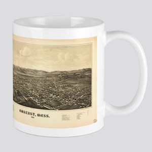 Vintage Pictorial Map of Amherst MA (1886) Mugs