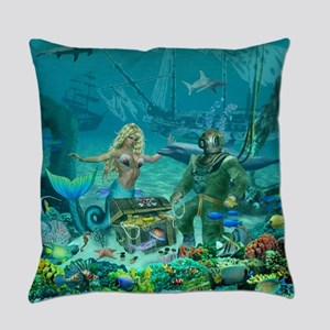 Mermaid's Coral Reef Treasure Everyday Pillow