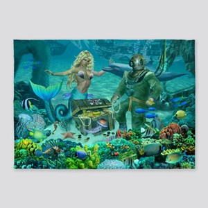 Mermaid's Coral Reef Treasure 5'x7'Area Rug