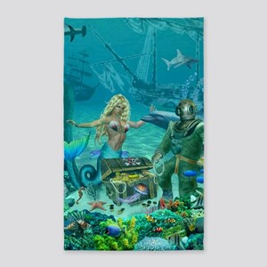 Mermaid's Coral Reef Treasure Area Rug
