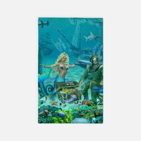 Mermaid's Coral Reef Treasure Area Rug