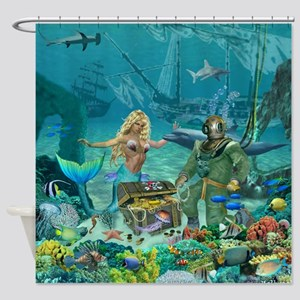 Mermaid's Coral Reef Treasure Shower Curtain