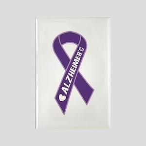 Purple Alzheimer's Ribbon Rectangle Magnet