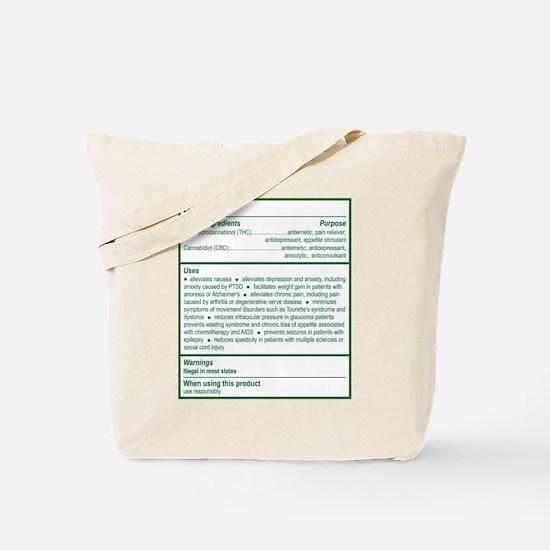 THC Drug Facts Tote Bag