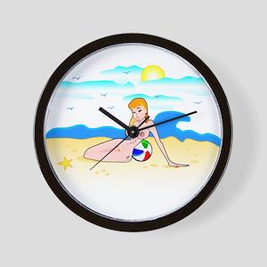 Kimmy @ the beach nude Wall Clock