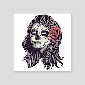 Sugar Skull Day of Dead Girl Red Rose Square Stick