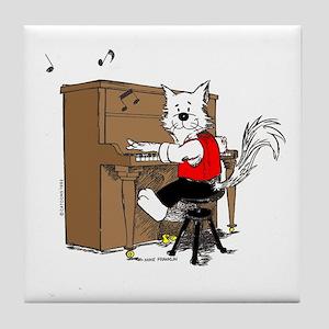 Piano Cat Tile Coaster