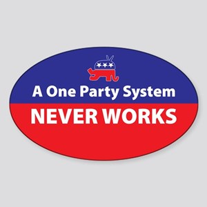 One Party Oval Sticker