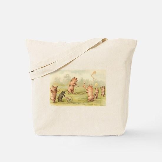 Playful Pigs Vintage Art Tote Bag
