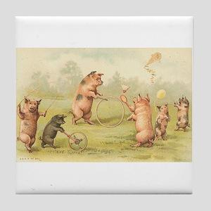 Playful Pigs Vintage Art Tile Coaster