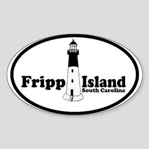 Fripp Island - Lighthouse Design Oval Sticker