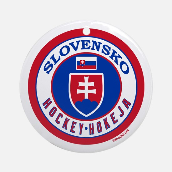 SK Slovakia/Slovensko Hockey Ornament (Round)