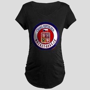 CZ Czech Rep Ice Hockey Maternity Dark T-Shirt