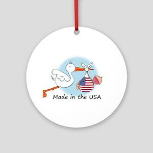 Stork Baby USA Ornament (Round)