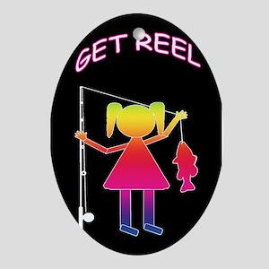 GET REEL GIRL Oval Ornament