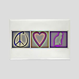 Peace Love Cats (ALT) - Rectangle Magnet