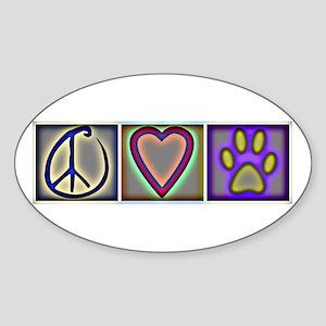Peace Love Dogs (ALT) - Oval Sticker