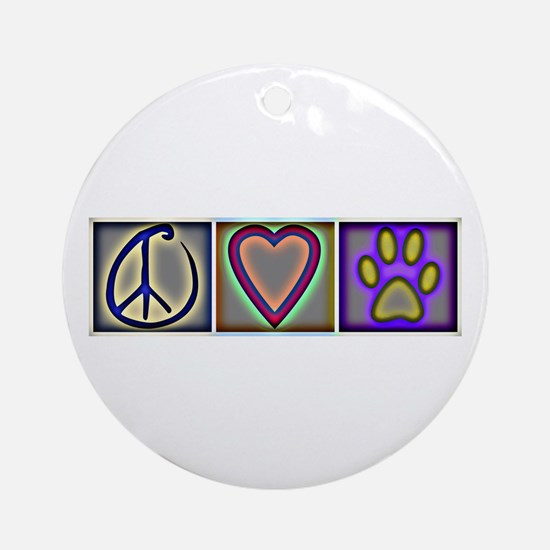 Peace Love Dogs (ALT) - Ornament (Round)