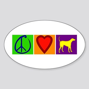 Peace Love Yellow Labs - Oval Sticker