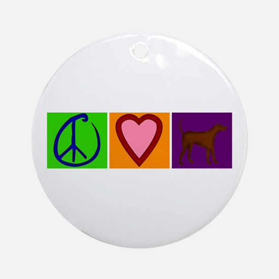 Peace Love Chocolate Labs - Ornament (Round)