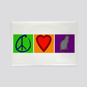 Peace Love Cats - Rectangle Magnet