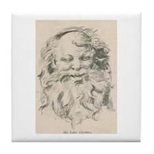 Old Father Christmas Tile Coaster