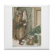 St. Nick with Baskets Tile Coaster