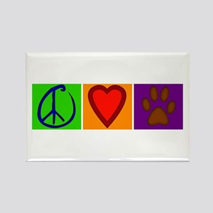 Peace Love Dogs - Rectangle Magnet
