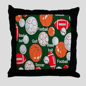 Green sports Throw Pillow