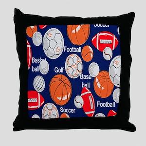 Blue Sports Throw Pillow