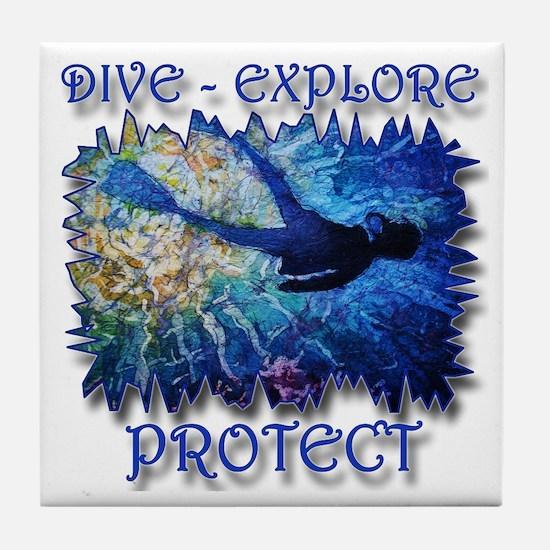 Dive Explore Tile Coaster