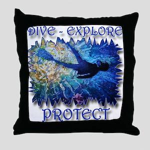 Dive Explore Throw Pillow
