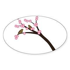 Cherry Blossoms Oval Sticker (10 pk)