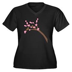 Cherry Blossoms Women's Plus Size V-Neck Dark T-Sh