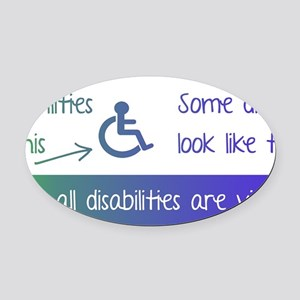 invisible disabilities Oval Car Magnet