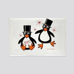 New Year Penguins Rectangle Magnet