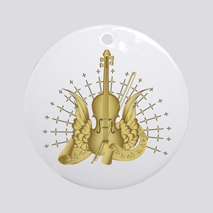 Golden Winged Violin Ornament (Round)
