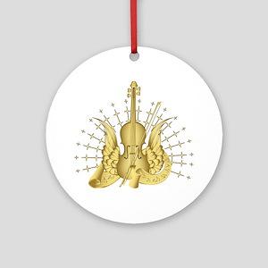 Golden Winged Violin Ornament (Round)