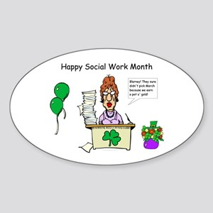 Social Work Month Desk2 Oval Sticker