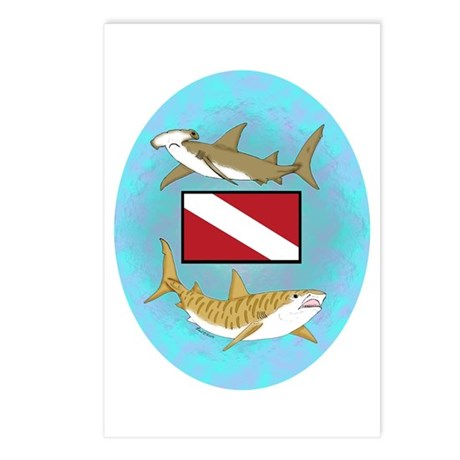 Dive Sharks Postcards (Package of 8)