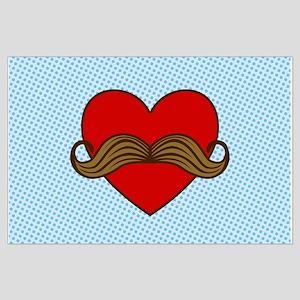 Moustache Valentine Heart Large Poster
