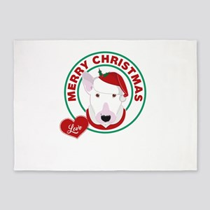 Bull Terrier Christmas 5'x7'Area Rug