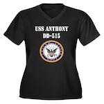 USS ANTHONY Women's Plus Size V-Neck Dark T-Shirt