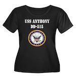 USS ANTHONY Women's Plus Size Scoop Neck Dark T-Sh