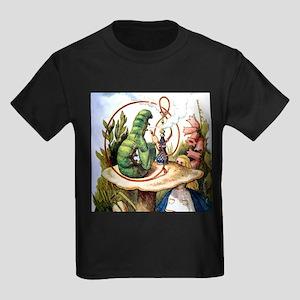 ALICE & THE CATERPILLAR Kids Dark T-Shirt