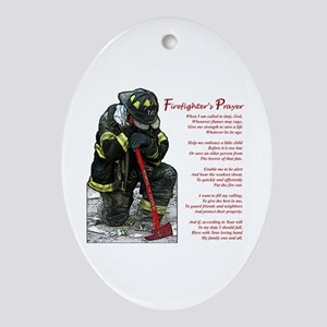 Firefighter Prayer Oval Ornament