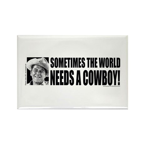Sometimes the World Needs a Cowboy Rectangle Magne