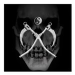 "Grmdrpr Skull Scythes Square Car Magnet 3"" X"